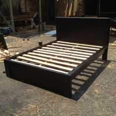 Custom Queen Platform Bed w/ Leather Like Upholstered Headboard Solid wood, built to last! As shown $650 (no mdf or veneers) www.mid-tnbunkbeds.com