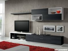 Blanco, negro y rojo - Best Pins Live Living Room Tv, Living Room Modern, Home And Living, Living Room Designs, Modern Tv Units, Modern Tv Wall, Tv Unit Design, Tv Wall Design, Muebles Living