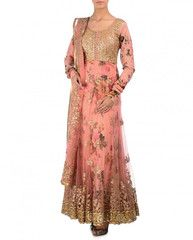 #KY2022# Vintage Pink Double Layered Anarkali Suit with Sequins