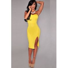 USD11.99Cheap Sexy V Neck Off The Shoulder Sleeveless Front Spit Yellow Sheath Mini Bodycon Dress