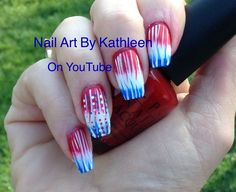 Red, White, and Blue Gradient Patriotic Nail Art for Memorial Day