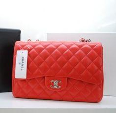 Chanel Handbags 36076 Orange With Silver Jumbo Lambskin