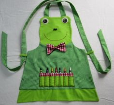 frog apron | Freddy the FROG Crayon/Craft APRON Fully Lined - Size 3/4 - Ready to ...
