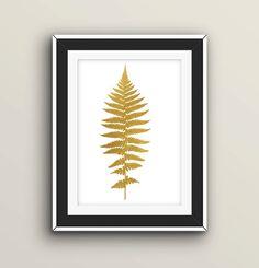 "Fern Leaf Print 8x10"" Golg Foil Decor Digital Download"
