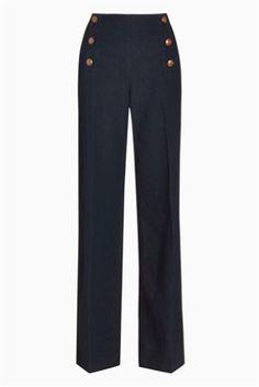 Smart Denim Rinse Button Wide Leg Jeans