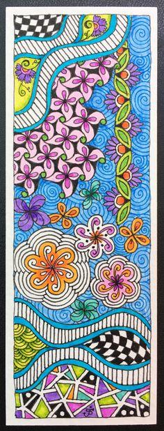 ZIA bookmark. Julie Beland, 5/16. Zentangle.