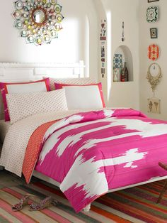 Add a pop of color to your room with our Ikat Pink bedding set, available now at a special price on GILT