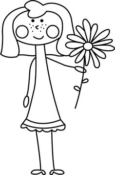Free Digital Stamp - Girl with flower