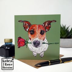 Jack Russell Terrier, Jack Russell, Jack Russell Gifts, Terrier Greeting Card, Dog Card, New Home, Birthday, Wedding, Anniversary, Terrier, Watercolour Drawings, Pen And Watercolor, Chihuahua Art, Different Dogs, Dog Cards, Dog Illustration, Love Drawings, White Dogs, Jack Russell Terrier