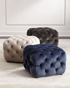 Shop Grace Tufted Cube Ottoman at Horchow, where you'll find new lower shipping on hundreds of home furnishings and gifts. Shabby Chic Interiors, Shabby Chic Living Room, Shabby Chic Kitchen, Shabby Chic Homes, Shabby Chic Furniture, Shabby Chic Decor, Living Room Sofa Design, Living Room Designs, Capitone Sofa