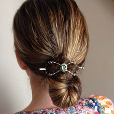 Drop bun held with an emerald dream flexi clip. Tip: This hairstyle works so much better when you do it while your hair is damp.