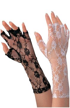 "#31904-01 Black #31904-08 White 9"" Lace Fingerless Gloves Color: Black, White Adult Size"