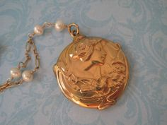 Antique Art Nouveau Locket Necklace and Earrings by SweetheartLane