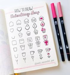 Seed Successful You on TUTORIAL: Hello friends! Today, I am sharing a simple tutorial on how to draw some Valentines items. When I do how to draw tutorials I February Bullet Journal, Bullet Journal Banner, Bullet Journal Aesthetic, Bullet Journal Notebook, Bullet Journal Ideas Pages, Bullet Journal Inspiration, Doodle Art Journals, Simple Doodles, How To Doodles