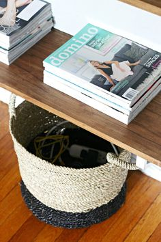 Hide your unsightly cords, routers, etc in a stylish basket.