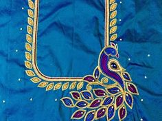 Peacock Blouse Designs, Peacock Embroidery Designs, Hand Embroidery Design Patterns, Simple Blouse Designs, Peacock Design, Aari Embroidery, Peacock Pattern, Traditional Blouse Designs, Mirror Work Blouse Design