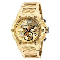 623b010d7fb9d Great sale information Online Invicta Speedway Chronograph Champagne Dial  Gold Ion-plated Mens Watch 19529