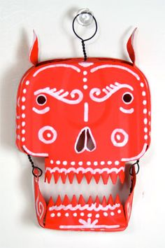The Devil. Sympathy For The Devil, Tin Art, Mexican Folk Art, Skull And Bones, Day Of The Dead, Skull Art, Favorite Holiday, Sugar Skull, Halloween Crafts