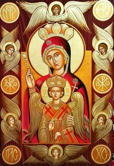 I wonder what is the name of this icon of the Theotokos. Religious Images, Religious Icons, Religious Art, Queen Of Heaven, Byzantine Icons, Holy Mary, Madonna And Child, Art Icon, Orthodox Icons