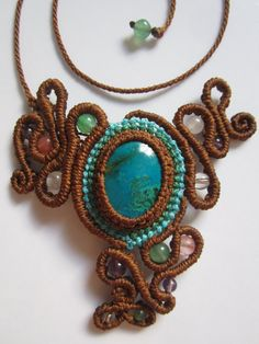 Chrysocolla Macrame Necklace Creation handmade with natural chrysocolla gemstone cabochon
