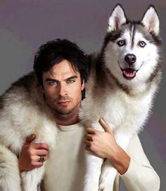 Ian Somerhalder I don't believe this is a real photo however, my husband always says Ian looks like a husky so this is appropriate LOL