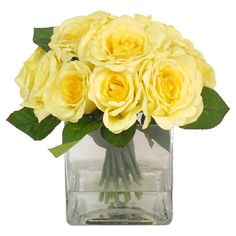 Brighten up your kitchen windowsill or home office with this lifelike yellow rose arrangement, featuring a glass cube vase and faux water. ...