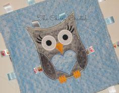 Personalized Baby Blanket, Boy Owl Baby Blanket, Minky Baby Blanket, Sensory Ribbons, Custom Blanket, Made to Order