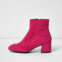 Bright pink suede block heel ankle boots £65.00