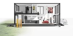 ⌂ The Container Home ⌂ LongSection Render- Insta_House