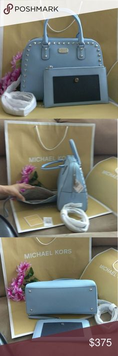 NWT Mk studded Sandrine tote purse  w/ wristlet NWT Michael Kors handbag shoulder bag crossbody tote purse  Very roomy .elegant . Can carry all your belongings.tag attached $529  A headturner everywhere and Everytime Size 12 x 11 x 5 Color : light sky / gold hardware  And matching NWT wallet A LOT OF compartment For credit card . for bills and for coins Size 8 x 3.5 x Color : light sky / gold hardware                🎉🌋PRICE FIRM🎀🎁 Michael Kors Bags