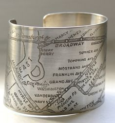 NYC Midtown Map Bracelet no. 2 by fugudesigns on Etsy [The link is to the Midtown map, the photo is a Brooklyn map]