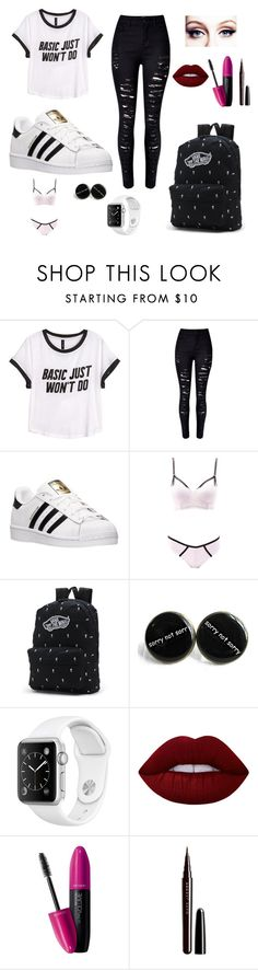 """""""Untitled #97"""" by chrissyboyd ❤ liked on Polyvore featuring H&M, WithChic, adidas, Charlotte Russe, Vans, Lime Crime, Revlon and Marc Jacobs"""