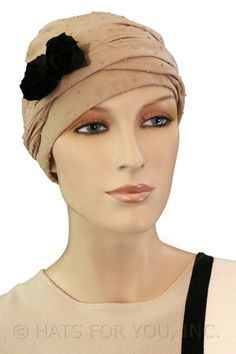$21.75 - Beige Dots Short Tail Headwrap     #cancer #chemo #alopecia #hair loss