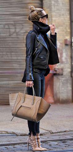 black outfit + leather + denim + nude accessories + turtleneck + topknot bun hairstyle + Helena Glazer. Jacket: Mackage, Sweater: Banana Republic, Pants: Rag & Bone, Shoes: Aquazzura, Bag and Sunglasses: Céline