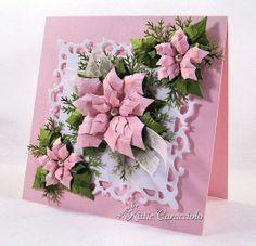 Kc Spellbinder Poinsettia Pink 2 Right Poinsettia Cards, Christmas Poinsettia, Pink Christmas, Handmade Christmas, Christmas Crafts, Heartfelt Creations, Xmas Cards, Holiday Cards, Flower Cards