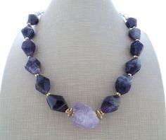 Amethyst necklace chunky necklace purple gemstone by Sofiasbijoux