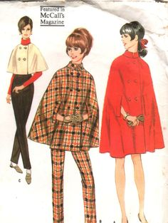 Vintage 60s McCalls Double-Breasted CAPE in Three Lengths and Skinny Pants/Trousers UNCUT Pattern 9028 - size 16 - bust 36 (91 cm). $10.99, via Etsy.