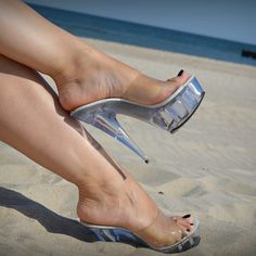 My preference for foot wear. Sexy Legs And Heels, Hot High Heels, Platform High Heels, Strappy Sandals Heels, Bare Foot Sandals, Stripper Heels, Pantyhose Heels, Gorgeous Heels, Clear Heels