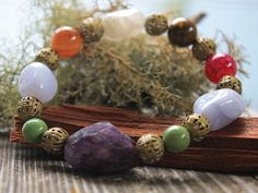 Amethyst Multi Healing Stone Stretch Bracelet NOW AVAILABLE at www.whimsicaloffshoot.com #healingstone #jewelry #thewhimsicaloffshoot #bohemian #vibrant