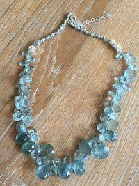 Moss Aquamarine for Summer.Pam Older Designs http://www.pamolderdesigns.com/moss-aquamarine-ruffle-necklace/
