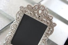 16 Small Silver Vintage Style Ornate Jeweled Frames Beautiful Frames with Intricate Design, Adorned with Faux Diamonds/Crystals/Rhinestone Perfect for the vintage wedding! Picture/chalkboard space x Frame size tall clear glass Vintage Glam, Vintage Frames, Vintage Fashion, Vintage Style, Wedding Vintage, Chalkboard Table Numbers, Buffet, Ornate Picture Frames, Pink Candles