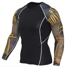 Long Sleeve Compression Shirt Men Muscle Top Tees Exercise & Fitness Strength MMA T Shirt