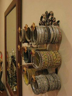 Jewelry Display Stand Tower for Necklace Bangle Hanger Wooden bangle holder stand Indian Crafts Idea Decor Sheesham Wood Bangles Stand Bangle Storage Organizer 9 Rod Bracelet Stand Wooden Foldable Bangles Stand Curl Design,Bangles Woode wood handers
