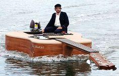 Australian singer Josh Pyke's guitar boat. What, you don't have one?
