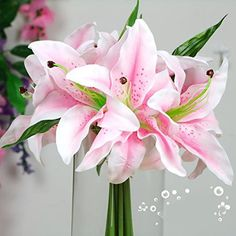 SANNIX Lily Wedding Bouquet 8 head Silk Flower Bouquets Lily Artificial Flowers for Home and Wedding Decoration Pink *** Click image for more details.(It is Amazon affiliate link) #comment