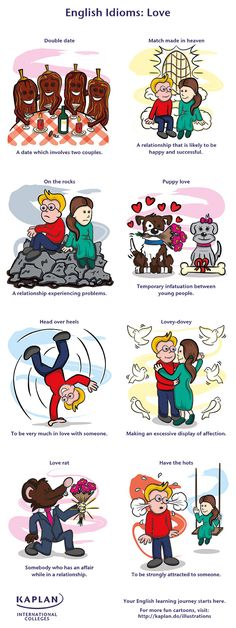 Discover how to use love idioms in English using this graphic created by Kaplan International English. Are you lovey-dovey or a real love rat?! Find out in this blog post.