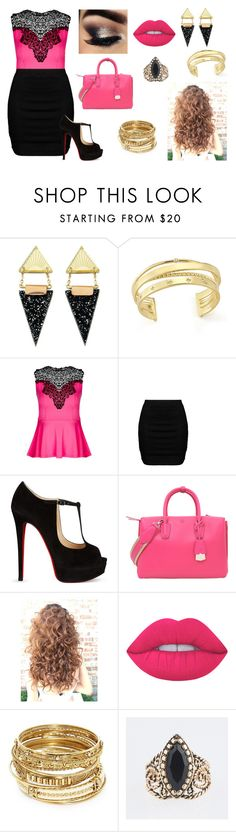 """""""Black, Pink, and Gold"""" by crystal39409 ❤ liked on Polyvore featuring Wolf & Moon, Elizabeth and James, City Chic, Zizzi, Christian Louboutin, MCM, Lime Crime and ABS by Allen Schwartz"""