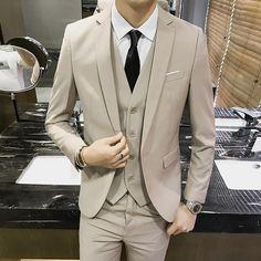 (veste Gilet Pantalon) 2018 Nouveaux Hommes De Costume Mode Boutique Solide  Couleur Robe Marié be2cd9a6396