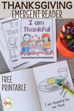 Your kids will love this free printable Thanksgiving emergent reader. Here are some fun ideas for your Thanksgiving theme unit or lesson plans in preschool, pre-k or kindergarten. More than turkey coloring pages, the easy to assemble books features simple Thanksgiving Pictures To Color, Thanksgiving Writing, Thanksgiving Preschool, Thanksgiving Emergent Reader Free, Free Thanksgiving Coloring Pages, Thanksgiving Ideas, Kindergarten Lesson Plans, Preschool Lessons, Kindergarten Activities