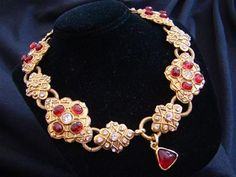 Authentic vintage Chanel gripoix poured glass and crystal necklace in goldtone setting